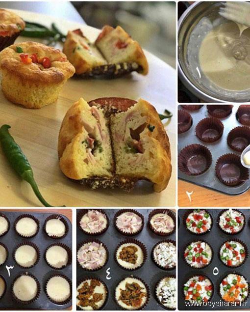 طرزتهیه کاپ کیک پیتزا,آموزش درست کردن کاپ کیک پیتزا,درست کردن کاپ کیک پیتزا,دستور درست کردن کاپ کیک پیتزا