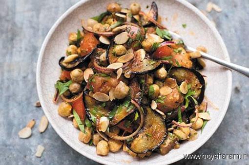 درست کردن سالاد گرم بادمجان و نخود مخصوص گیاهخواران,دستور درست کردن سالاد گرم بادمجان و نخود