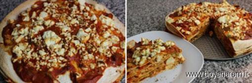 آموزش درست کردن پیتزا با نان ترتیلا,درست کردن پیتزا با نان ترتیلا,دستور درست کردن پیتزا با نان ترتیلا