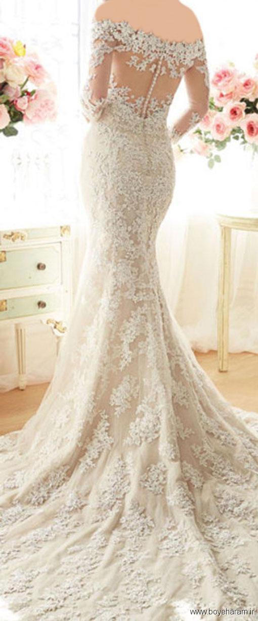 اندام سیبی شکل لباس عروس یقه هفت,اندام مثلثی وارونه لباس عروس دامن پفی,افراد بلند قد لباس های عروس سبک پری دریایی