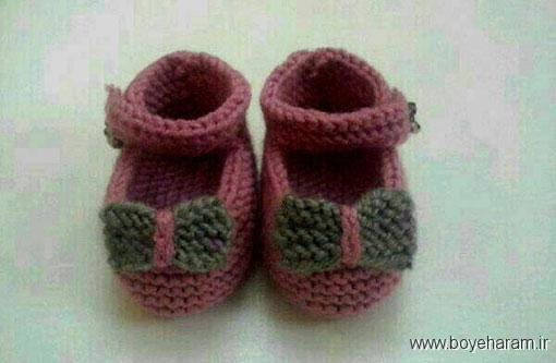 مدل پاپوش نوزادی (دومیل),آموزش بافت مدل جدید پاپوش نوزادی (دومیل)
