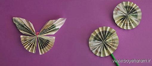 ساخت پروانه از اسکناس,آموزش ساخت پروانه از اسکناس ها,آموزش تزیین پول برای عیدی,آموزش تزیین اسکناس برای عروسی
