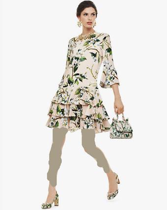 ست سارافون و کیف زنانه گلدار