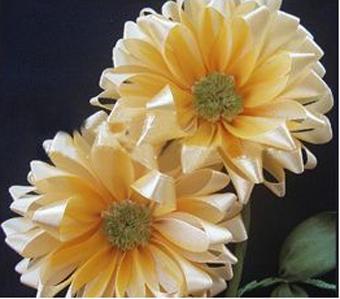 آموزش گلسازی,ساخت گل با روبان,ساخت گل آفتابگردان