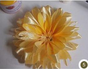 آموزش گل با روبان,ساخت گل افتابگردان